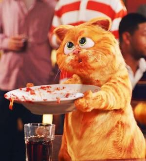 Garfield pidiendo lasaña